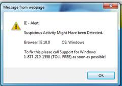 IE - Alert error.  Malware.